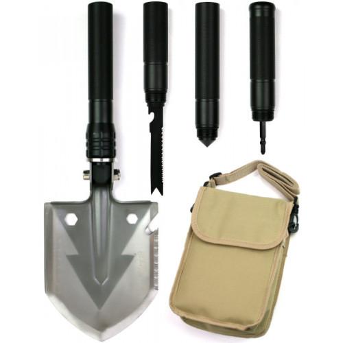 Лопата багатофункціональна туристична Milcraft Сталь/алюміній Чорна | Мотика, ніж-пила, гайковер, сокира