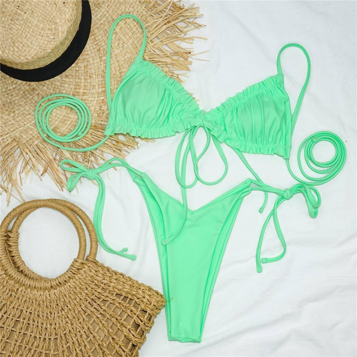 Женский салатовый раздельный купальник бикини на завязках Light green