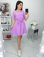 Літнє яскраве однотонне плаття з поясом, фото 1