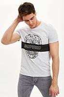 Серая мужская футболка Defacto / Дефакто с принтом-череп