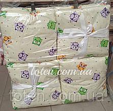 Захист бортики Подушки 12 штук на 4 сторони (окремі) на зав'язочках для дитячого ліжечка 140*60см. Пташки