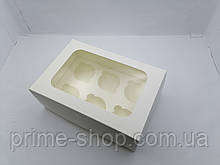 Упаковка коробка для кексов, капкейков, маффинов, с окном, белая