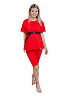 55045504 Комплект велосипедки и футболка oversize для беременных с секретом для кормления Красный, фото 1