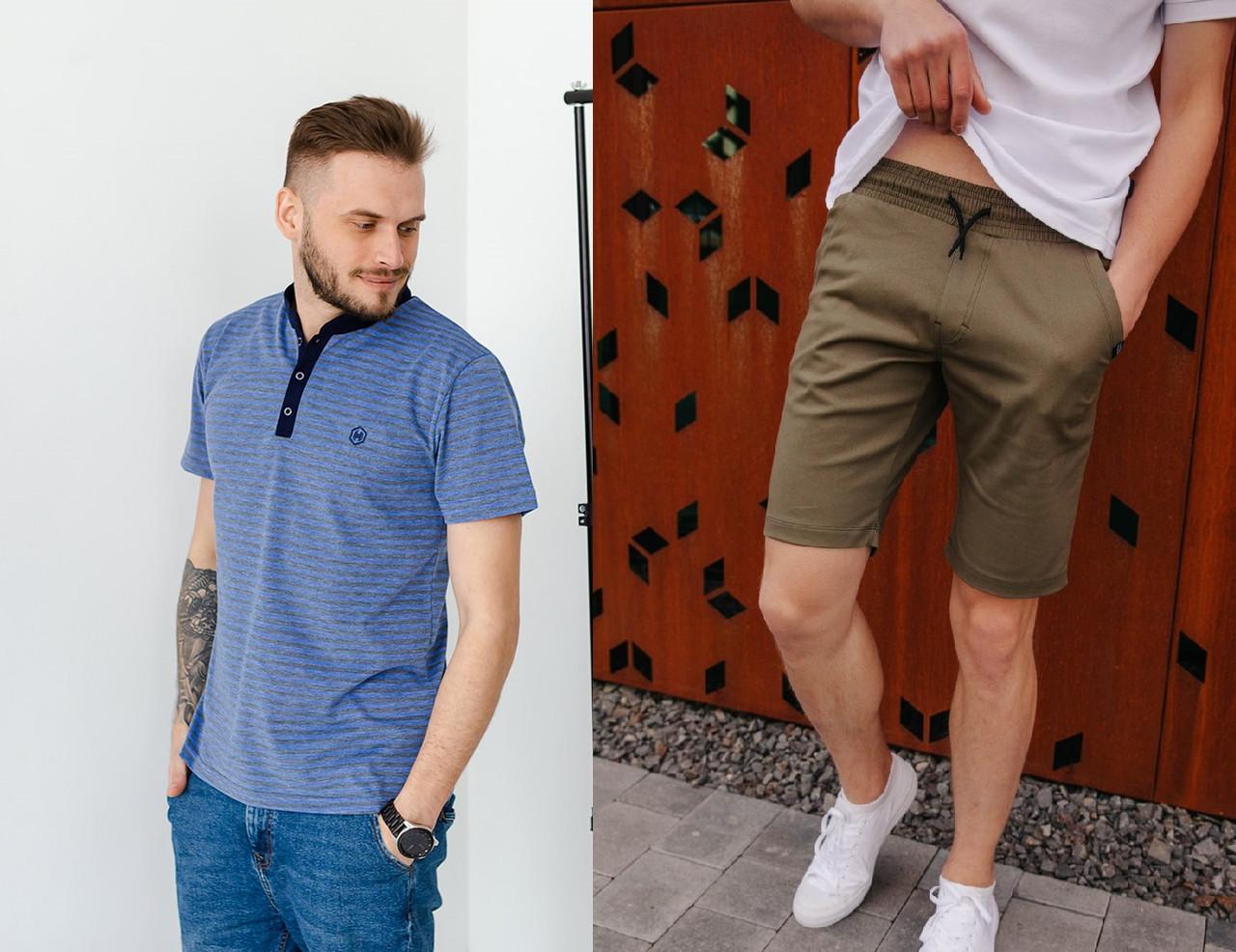 Чоловічий комплект поло + шорти оливкового кольору / Комплект Футболка поло + Шорти чоловічі