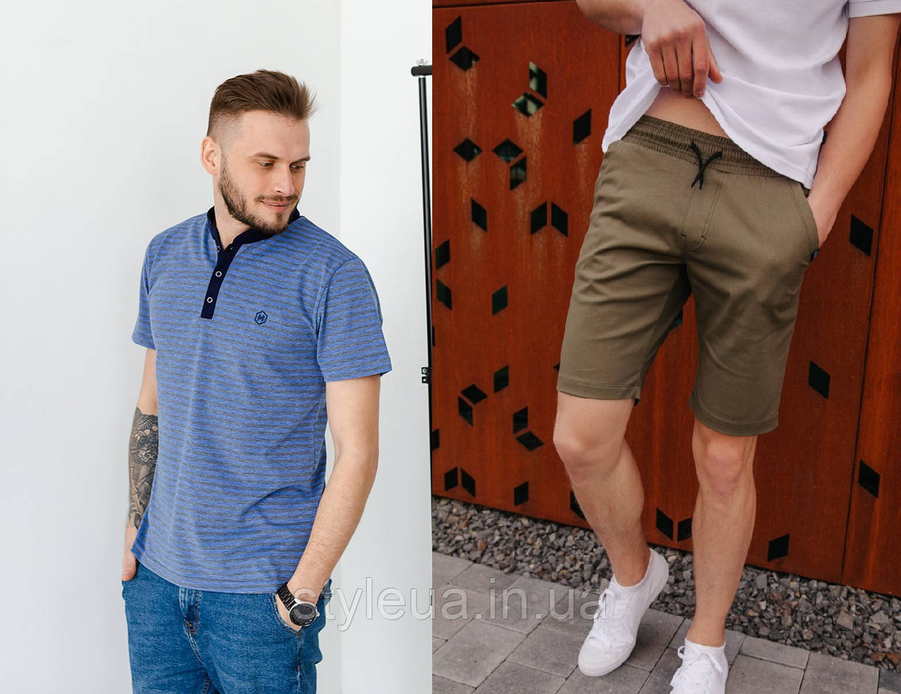 Мужской комплект поло + шорты оливкового цвета / Комплект Футболка поло + Шорты мужские