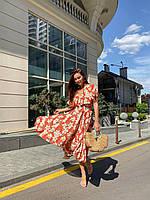 Летнее платье на запах красное в цветы