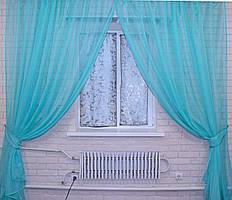 Готовый (2шт. 2,4х2,65м.) комплект декоративных штор из шифона, цвет бирюзовый. Код 006дк 10-251
