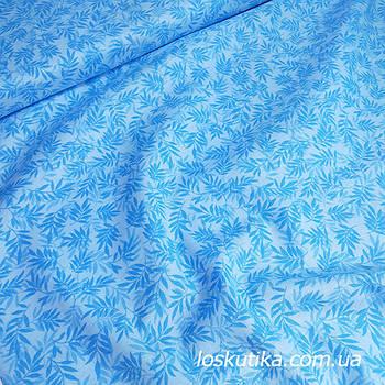 62002 Острая веточка (голубой). Ткань американский хлопок с растительным принтом. Квилтинговые ткани.