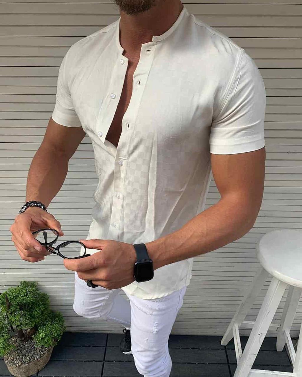 Мужская рубашка белая с коротким рукавом Турция