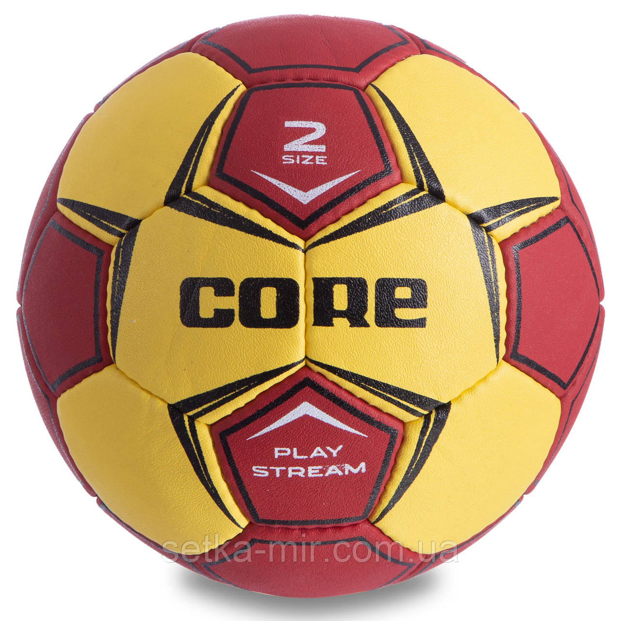 Мяч для гандбола CORE PLAY STREAM CRH-049-2 (PU, р-р 2, сшит вручную, желтый-красный)