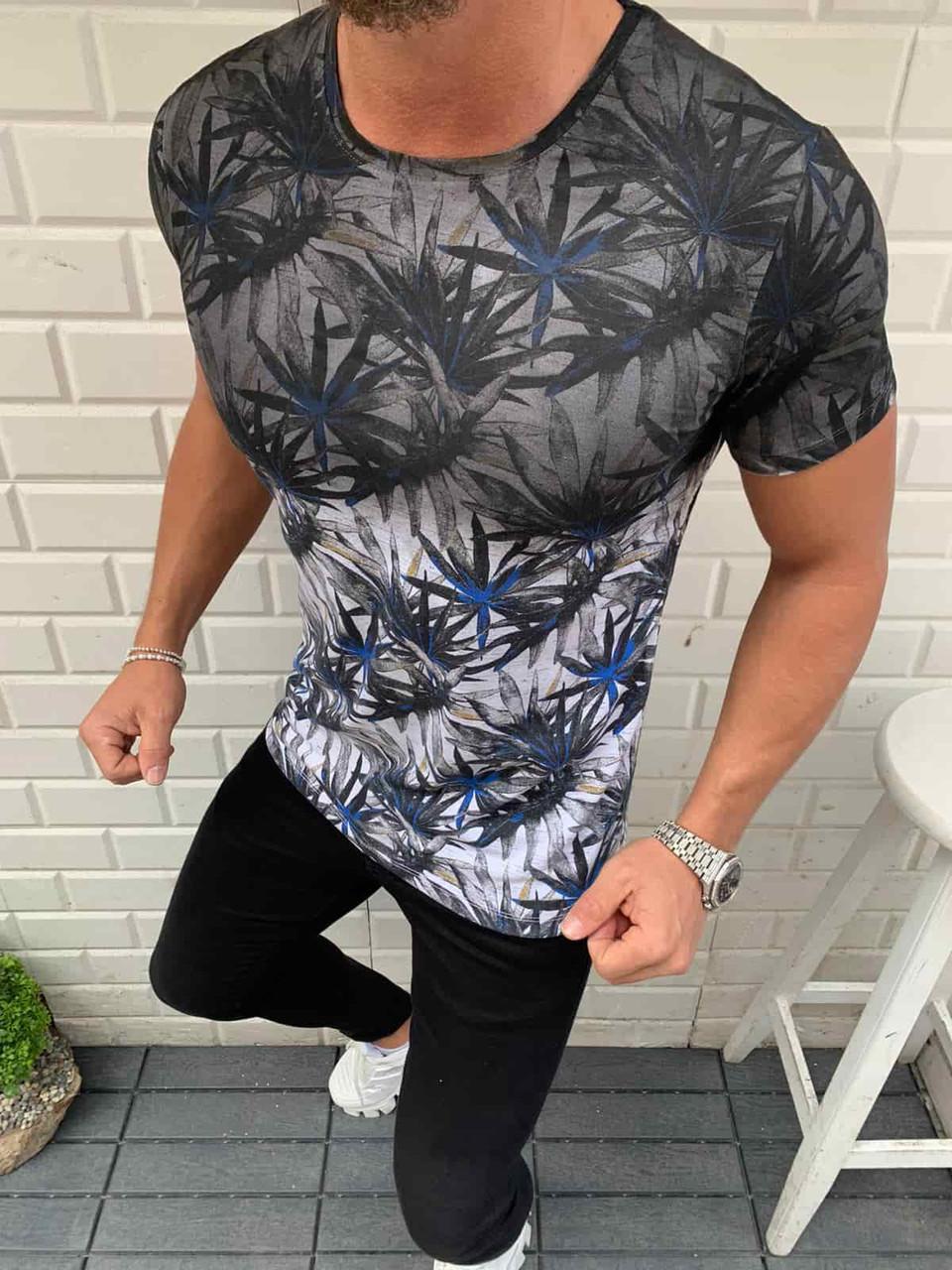 Чоловіча сіра футболка з принтом троянда, Туреччина