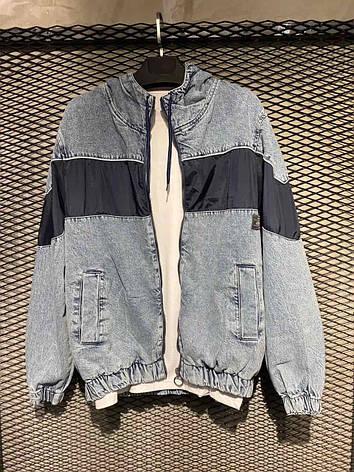 Чоловіча сіро-блакитна джинсова куртка-бомбер на манжетах з чорною вставкою, Туреччина, фото 2