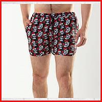 Мужские пляжные шорты для плавания быстросохнущие Череп с Розой из плащевки с подкладкой на лето
