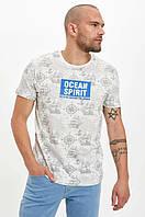 Белая мужская футболка Defacto / Дефакто с морским принтом Ocean spirit