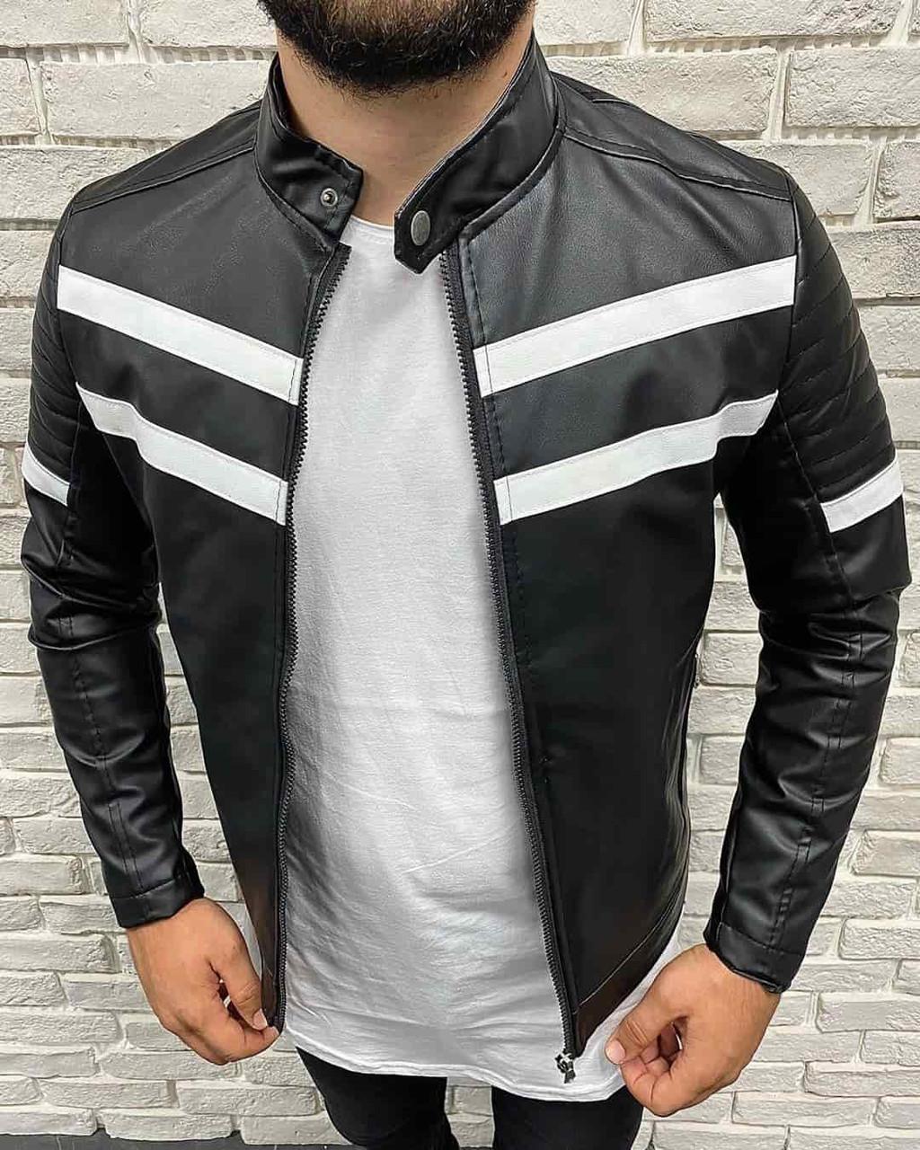 Мужская черная с белыми полосками кожаная куртка косуха, Турция
