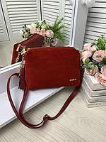 Женская замшевая сумочка красная клатч замша натуральная и эко кожа
