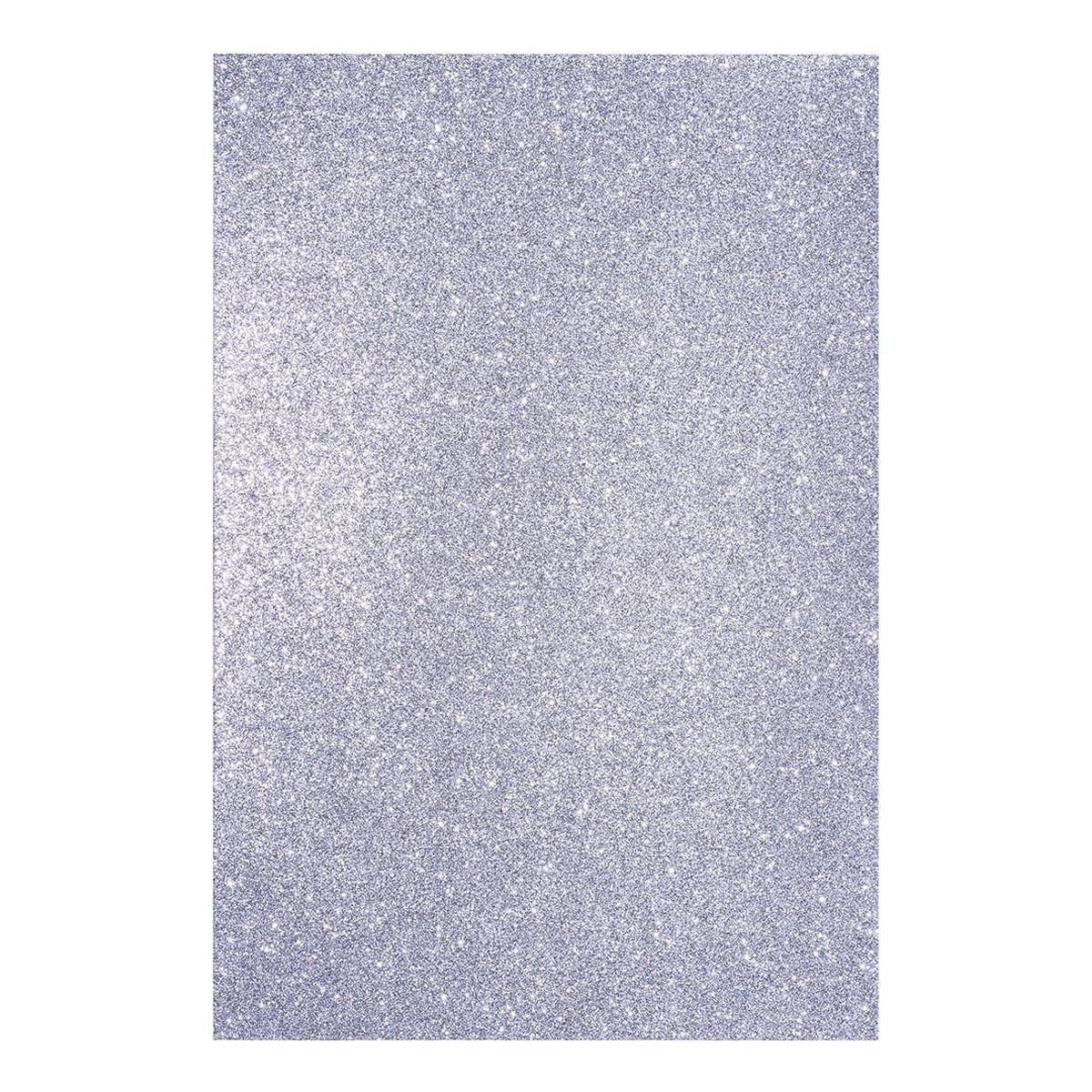 Фоамиран ЭВА серебряный с глиттером, с клеевым слоем, 200*300 мм, толщ. 1,7 мм, 10 л.