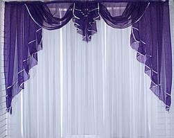Ламбрекен №52 на карниз 2 метра. Цвет фиолетовый. Код 052л 60-101