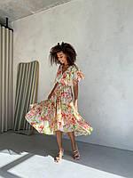 Летнее платье на запах белое в цветы