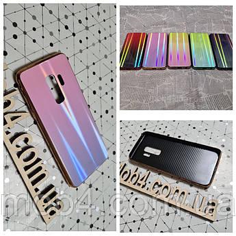 Стеклянный чехол Аврора для Samsung Galaxy S9 (обод силиконовый)