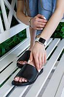 Женские кожаные шлепанцы FLAT Черные