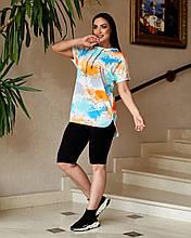 Летний прогулочный костюм женский Туника и бриджи Размер 48 50 52 54 56 В наличии 3 цвета