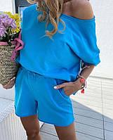 Яркий женский костюмчик на лето шорты и футболка спадающая сплеча