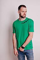 Зеленая универсальная футболка с логотипом из натурального хлопка / Футболка мужская
