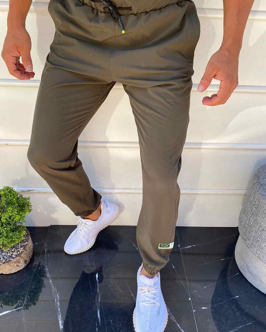 Мужские коричневые спортивные штаны на резинке снизу, Турция