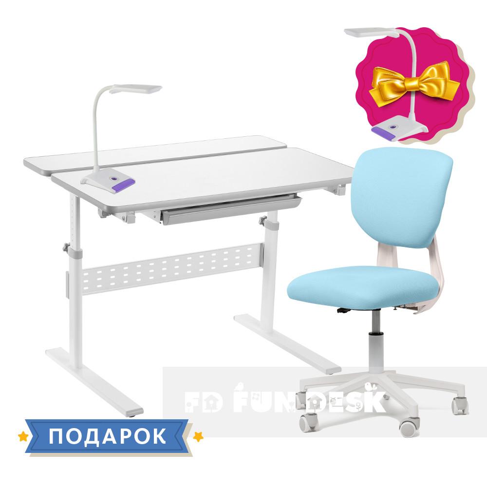 Комплект для школьника парта-трансформер Fundesk Colore Grey + кресло Fundesk Buono Blue