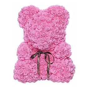 Мишко з штучних 3D троянд в подарунковій упаковці 40 см рожевий SKL11-140101