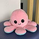 М'яка іграшка Восьминіг перевертиш двосторонній «веселий + сумний» рожево-м'ятний ОПТ, фото 5