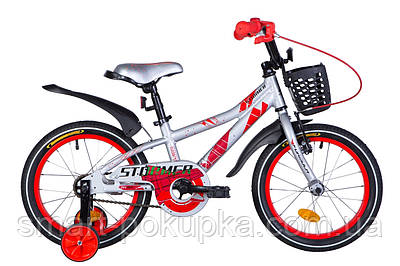 """Велосипед 16"""" Formula STORMER 2021 (сріблясто-червоний)"""