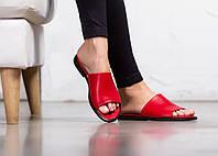 Женские кожаные шлепанцы FLAT Красные