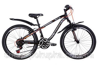 """Велосипед 24"""" Discovery FLINT AM Vbr 2021 (чорно-сірий з оранжевим (м))"""
