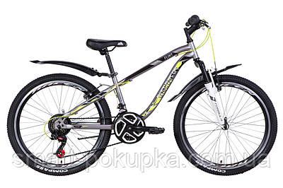 """Велосипед 24"""" Discovery FLINT AM Vbr 2021 (сріблясто-чорний з жовтим)"""