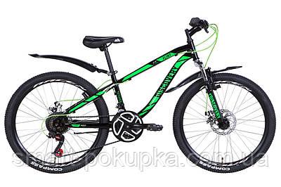 """Велосипед 24"""" Discovery FLINT AM DD 2021 (чорно-зелений з білим)"""