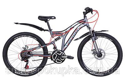 """Велосипед 24"""" Discovery ROCKET DD 2021 (графітово-білий з червоним (м))"""