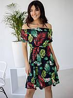 Недорогое летнее женское платье с ярким принтом листья и перо 42-44, 44-46, 46-48