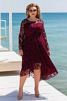 Женское нарядное платье креп дайвинг верх сетка флок размер: 48-50, 52-54, 56-58, 60-62