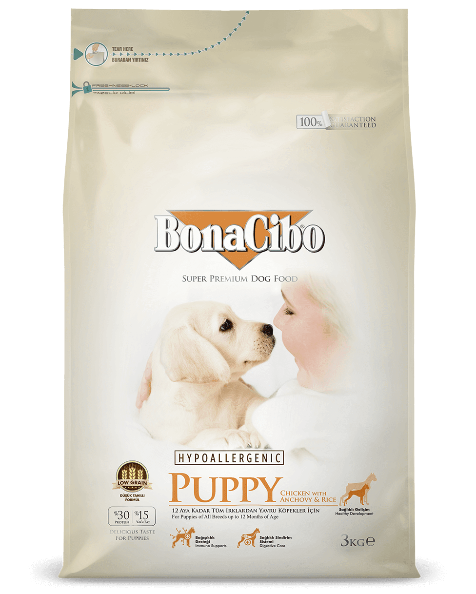 BonaCibo Puppy Chicken&Rice with Anchovy Сухий корм для цуценят всіх порід 3 кг