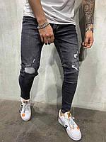 Мужские джинсы черные с порезами Турция