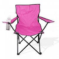 Складное кресло-стул для пикника с подстаканником в чехле 50х50х80 см розовый