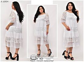 Летнее женское платье белого цвета большого размера: уни 52-56