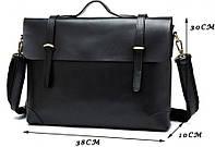 Чоловічий шкіряний портфель Vintage 14646 шкіряний Чорний, фото 2