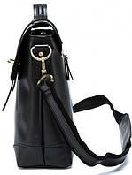 Чоловічий шкіряний портфель Vintage 14646 шкіряний Чорний, фото 4
