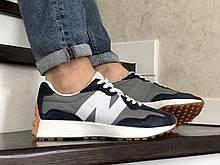 Мужские летние кроссовки New Balance 327,серые с синим