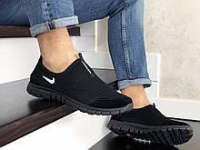 Летние кроссовки Nike Free Run 3.0,сетка,черные, без шнурков