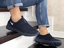 Летние кроссовки Nike Free Run 3.0,сетка, темно синие, без шнурков