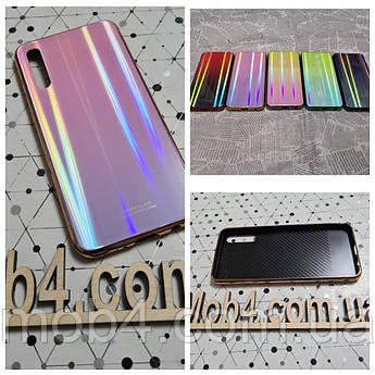 Стеклянный чехол Аврора для Samsung Galaxy A7 2018 (обод силиконовый)